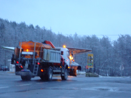 Snow plough in operation